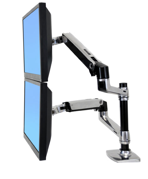 Ergotron ��������� ��� ���� ��������� LX Dual Stacking Arm Ergotron 45-248-026 ��� ����� ��� ��������